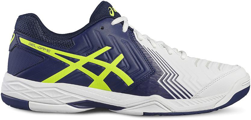 Кроссовки для тенниса мужские Asics Gel-Game 6, цвет: белый, голубой, желтый. E705Y-0149. Размер 11H (44,5)E705Y-0149С теннисными кроссовками Gel-Game 6 вы непобедимы. Это исключительные теннисные кроссовки средней высоты, разработанные специально для тех, кому важна выносливость и надежное сцепление с поверхностью. Эти кроссовки позволят хорошо зафиксировать ступню и контролировать ход игры с задней части корта.Поэтому, когда нужно совершить рывок для укороченного удара, вы не почувствуете дискомфорта, ведь усиленная амортизация позволяет легко поворачиваться на внешней поверхности подошвы и быстро изменять направление, готовясь к ответному удару. У подошвы кроссовок Gel-Game 6 однородная резиновая поверхность, которая с легкостью выдерживает воздействие грубых материалов покрытия хард.