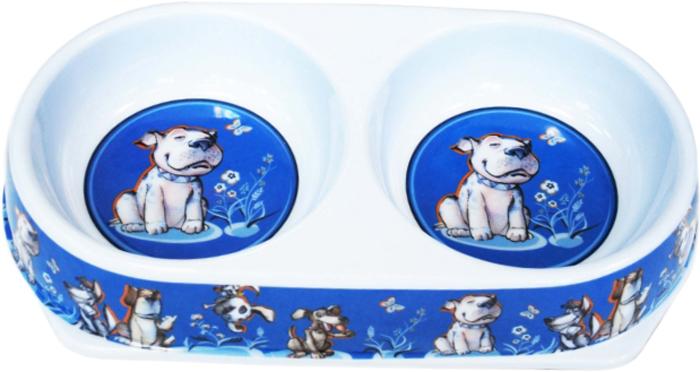 Миска для животных №1 Собака, двойная, 2 х 450 мл миска для животных 1 цвет ярко коралловый 800 мл