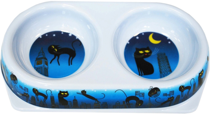 Миска для животных №1 Ночные коты, двойная, 2 х 180 мл миска для животных 1 ночные коты двойная 2 х 180 мл