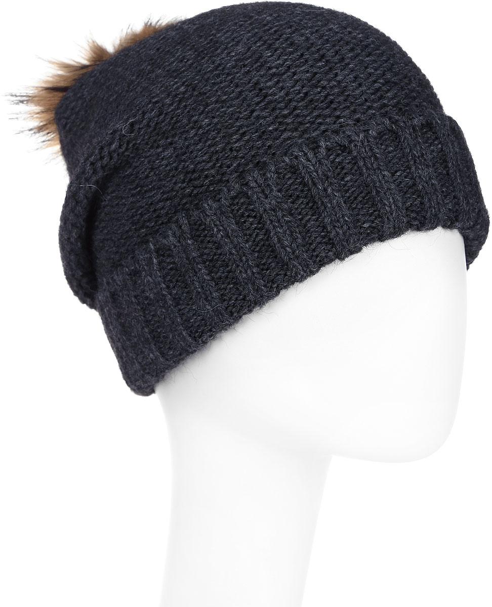 Шапка женская Paccia, цвет: темно-серый. NR-21712-2. Размер 55/58NR-21712-2Стильная женская шапка-бини Paccia выполнена из акрила с добавлением шерсти. Модель дополнена отворотом и меховым помпоном. Эта шапка не только согреет в прохладную погоду, но и стильно дополнит ваш образ.