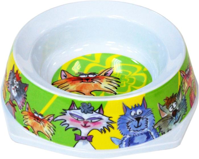 Миска для животных №1 Кошки, цвет: зеленый, 300 мл gipfel миска многофункциональная 24х23х16