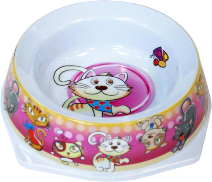 Миска для животных №1 Кошки, цвет: розовый, 300 мл миска для животных 1 цвет ярко коралловый 800 мл