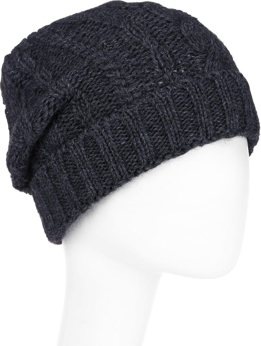 Шапка женская Paccia, цвет: антрацит. NR-21710-2. Размер 55/58NR-21710-2Вязаная женская шапка-бини Paccia выполнена из акрила с добавлением шерсти. Эта шапка не только согреет в холодную погоду, но и стильно дополнит ваш образ.