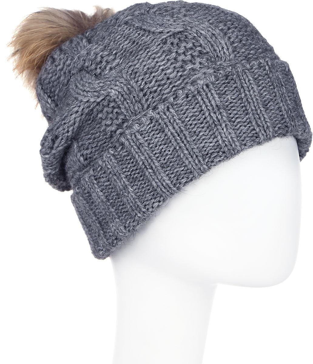 Шапка женская Paccia, цвет: серый. NR-21711-1. Размер 55/58NR-21711-1Стильная женская шапка-бини Paccia выполнена из акрила с добавлением шерсти. Модель дополнена меховым помпоном. Эта шапка не только согреет в холодную погоду, но и стильно дополнит ваш образ.