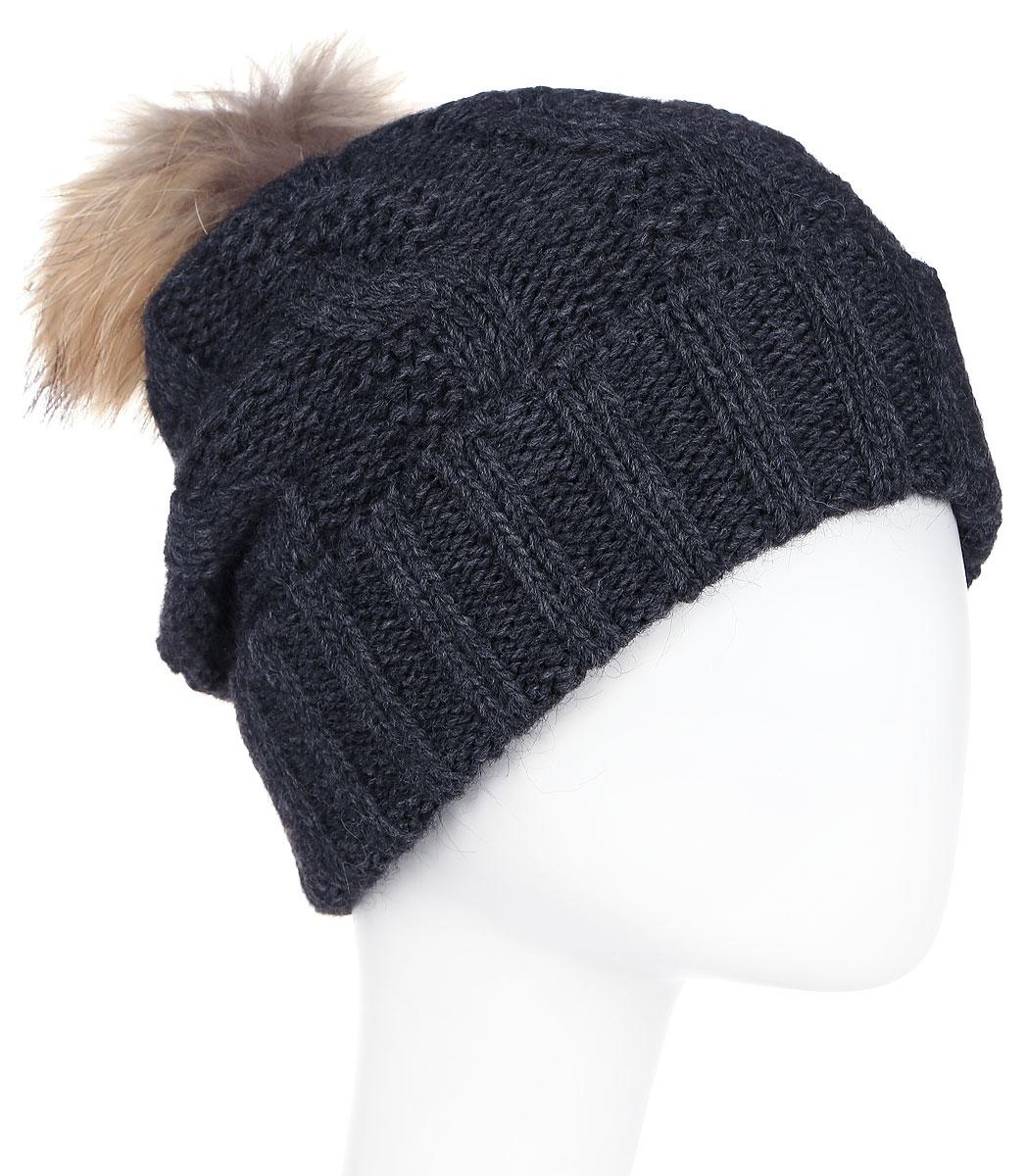 Шапка женская Paccia, цвет: антрацит. NR-21711-2. Размер 55/58NR-21711-2Стильная женская шапка-бини Paccia выполнена из акрила с добавлением шерсти. Модель дополнена меховым помпоном. Эта шапка не только согреет в холодную погоду, но и стильно дополнит ваш образ.