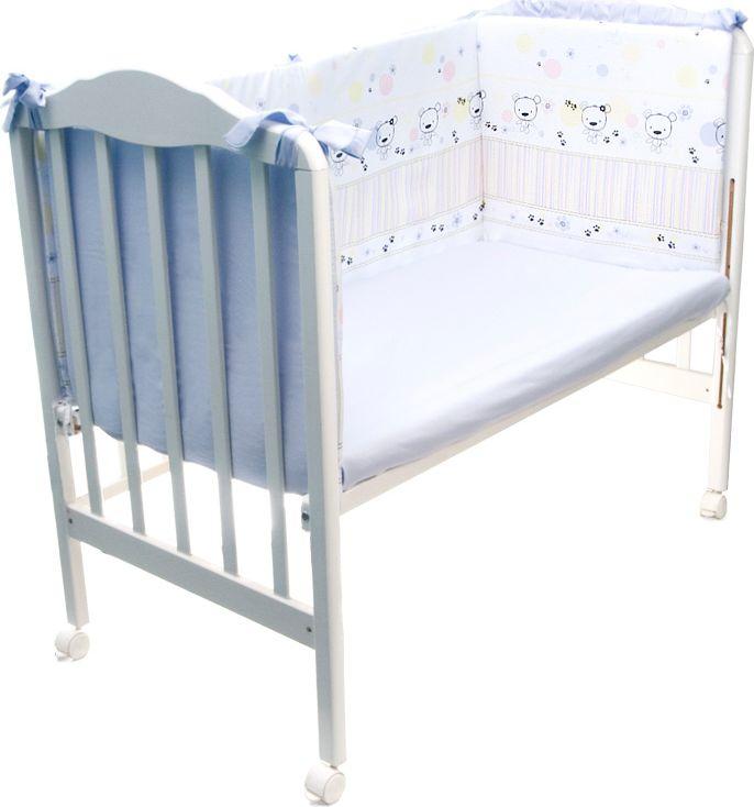 Сонный гномик Бортик для кроватки Конфетти цвет голубой 4 части