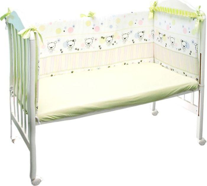 Сонный гномик Бортик для кроватки Конфетти цвет светло-зеленый 4 части