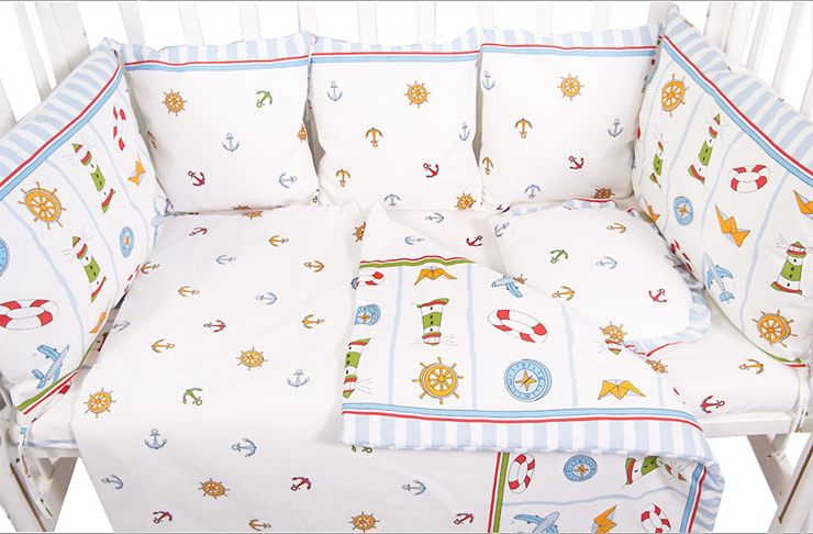 Сонный гномик Бортик для кроватки Маяк цвет голубой 10 частей -  Бортики, бамперы