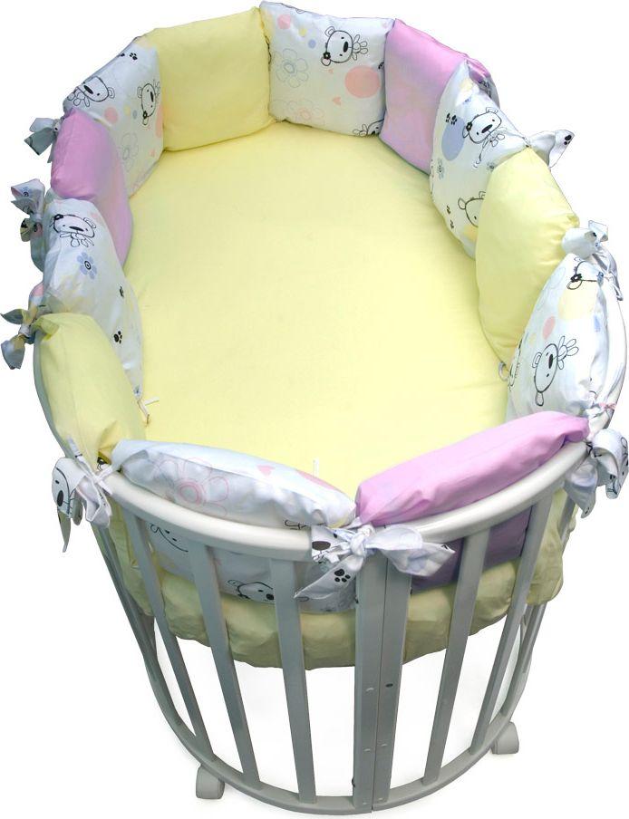 Сонный гномик Бортик для круглой кроватки Конфетти цвет розовый 12 частей