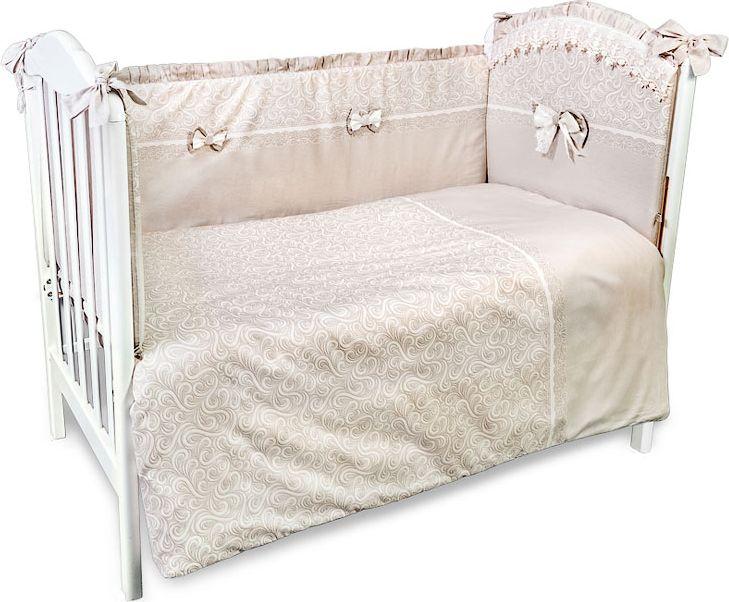 Сонный гномик Комплект белья для новорожденных Версаль цвет темно-бежевый 6 предметов618Детское постельное белье в кроватку «Версаль» - это превосходный комплект, сочетающий в себе натуральный и мягкий материал, который не вызовет аллергии у вашего малыша и ненавязчивый, но в то же время стильный и современный дизайн, который будет радовать глаз как малыша, так и его родителей. Наволочка, пододеяльник, простынь на резинке - все это выполнено из отборного сатина, сочетающегося с изысканным кружевом - детское постельное белье цена которого соответствует качеству. Комплектация: Наволочка, подушка, простынь на резинке, пододеяльник, одеяло, борт со съемным чехлом на молнии из 4 частей для кроватки 120х60Размер, см: Наволочка: 60х40, Подушка: 60х40, Простынь: 118х158, Пододеяльник: 110х144, Одеяло: 110х140, Борт, ДхВ: 360х43Наполнитель: Подушка: Бамбук (плотность 20г/кв. м), Одеяло: Бамбук (плотность 250г/кв. м), Борт: Холлофайбер Хард (плотность 400г/кв. м)