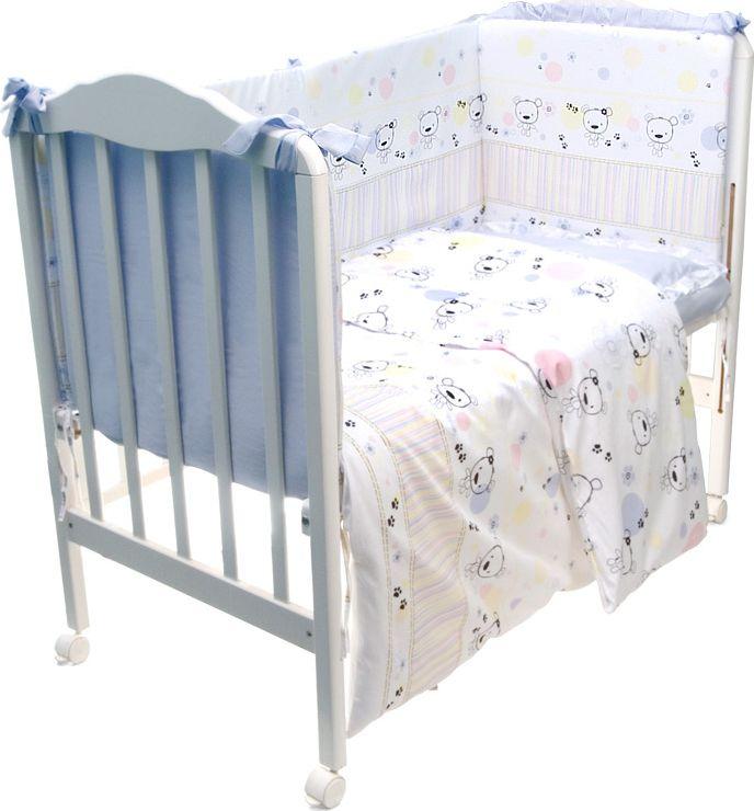 Сонный гномик Комплект белья для новорожденных Конфетти цвет голубой 6 предметов614/1Комплект белья в детскую кроватку «Конфетти» - это превосходный комплект, сочетающий в себе натуральный и мягкий материал, который не вызовет аллергии у вашего малыша и ненавязчивый, но в то же время стильный и современный дизайн, который будет радовать глаз как малыша, так и его родителей. Комплектация: Наволочка, подушка, простынь на резинке, пододеяльник, одеяло, борт со съемным чехлом на молнии из 4 частей для кроватки 120х60Размер, см: Наволочка: 60х40, Подушка: 60х40, Простынь: 100х143, Пододеяльник: 112х148, Одеяло: 110х140, Борт, ДхВ: 360х52Наполнитель: Подушка: Бамбук (плотность 20г/кв. м), Одеяло: Бамбук (плотность 250г/кв. м), Борт: Холлофайбер Хард (плотность 400г/кв. м)