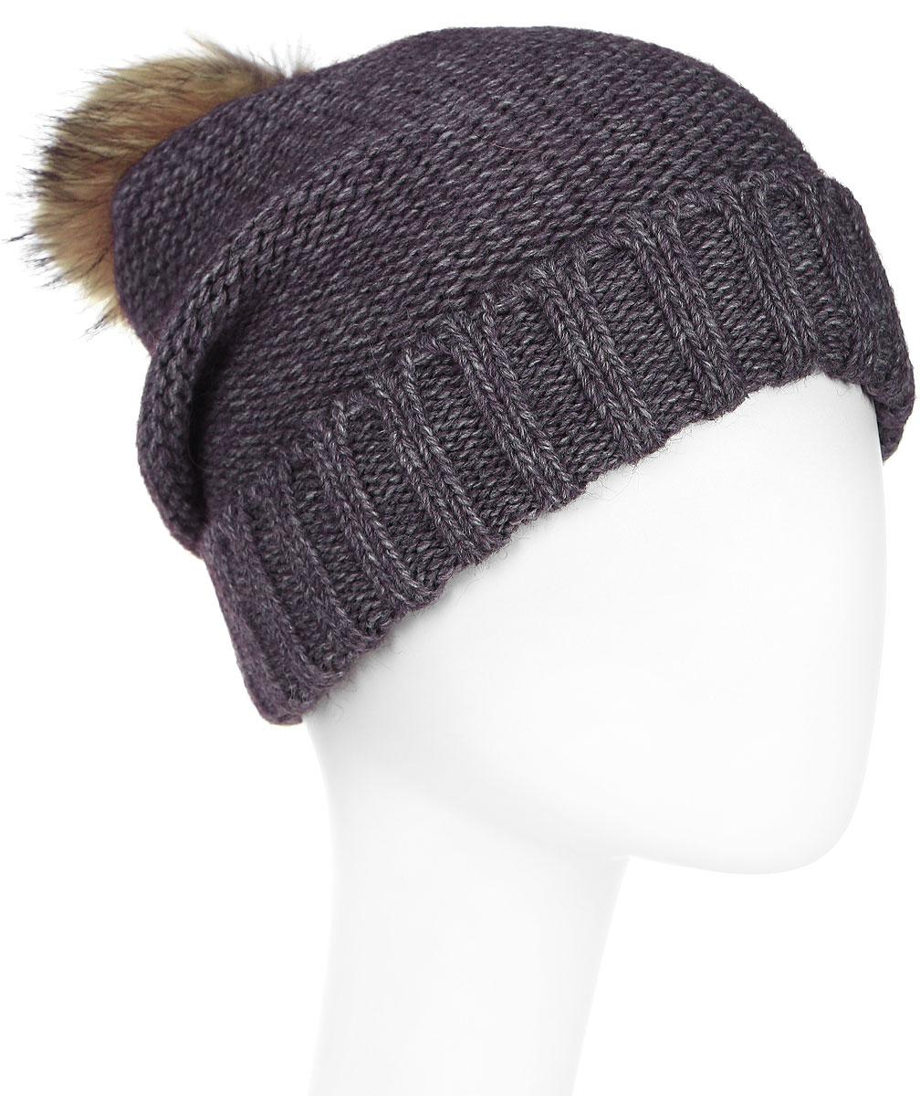 Шапка женская Paccia, цвет: коричневый. NR-21712-4. Размер 55/58NR-21712-4Стильная женская шапка-бини Paccia выполнена из акрила с добавлением шерсти. Модель дополнена отворотом и меховым помпоном. Эта шапка не только согреет в прохладную погоду, но и стильно дополнит ваш образ.