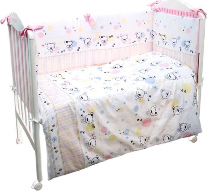 Сонный гномик Комплект белья для новорожденных Конфетти цвет розовый 6 предметов614/2Комплект белья в детскую кроватку «Конфетти» - это превосходный комплект, сочетающий в себе натуральный и мягкий материал, который не вызовет аллергии у вашего малыша и ненавязчивый, но в то же время стильный и современный дизайн, который будет радовать глаз как малыша, так и его родителей. Комплектация: Наволочка, подушка, простынь на резинке, пододеяльник, одеяло, борт со съемным чехлом на молнии из 4 частей для кроватки 120х60Размер, см: Наволочка: 60х40, Подушка: 60х40, Простынь: 100х143, Пододеяльник: 112х148, Одеяло: 110х140, Борт, ДхВ: 360х52Наполнитель: Подушка: Бамбук (плотность 20г/кв. м), Одеяло: Бамбук (плотность 250г/кв. м), Борт: Холлофайбер Хард (плотность 400г/кв. м)
