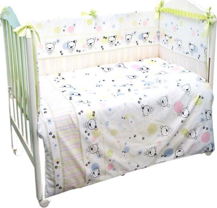 Сонный гномик Комплект белья для новорожденных Конфетти цвет светло-зеленый 6 предметов614/3Комплект белья в детскую кроватку Конфетти - это превосходный комплект, сочетающий в себе натуральный и мягкий материал, который невызовет аллергии у вашего малыша и ненавязчивый, но в то же время стильный и современный дизайн, который будет радовать глаз какмалыша, так и его родителей. Комплектация: наволочка, подушка, простынь на резинке, пододеяльник, одеяло, борт со съемным чехлом намолнии из 4 частей для кроватки 120 х 60 см. Размер наволочки: 60 х 40 см. Размер подушки: 60 х 40 см. Размер простыни: 100 х 143 см. Размер пододеяльника: 112 х 148 см. Размер одеяла: 110 х 140 см. Размер борта: 360 х 52 см. Наполнитель подушки: бамбук (плотность 20 г/м2). Наполнитель одеяла: бамбук (плотность 250 г/м2). Наполнитель борта: холлофайбер хард (плотность 400 г/м2).