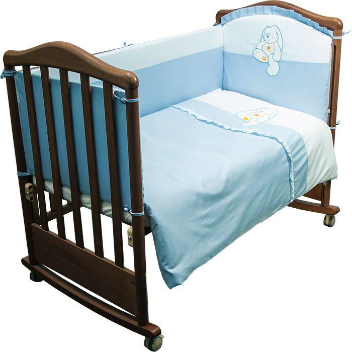 Сонный гномик Комплект белья для новорожденных Пушистик цвет голубой 6 предметов610/1Детское постельное белье с бортиками для новорожденных Пушистик, сочетающее в себе натуральный и мягкий материал, который не вызовет аллергии у вашего малыша и ненавязчивый, но в то же время стильный и современный дизайн, который будет радовать вас и вашего малыша.Постельное белье Пушистик выполнено из отборного сатина (100% хлопок), украшенного милой аппликацией. Комплектация: наволочка, подушка, простынь на резинке, пододеяльник, одеяло, борт со съемным чехлом на молнии из 4 частей для кроватки 120 х 60 см. Размер наволочки: 60 х 40 см. Размер подушки: 60 х 40 см. Размер простыни: 100 х 140 см. Размер пододеяльника: 110 х 140 см. Размер одеяла: 110 х 140 см. Размер борта: 360 х 38 см. Наполнитель подушки: бамбук (плотность 20 г/м2). Наполнитель одеяла: бамбук (плотность 250 г/м2). Наполнитель борта: холлофайбер хард (плотность 400 г/м2).