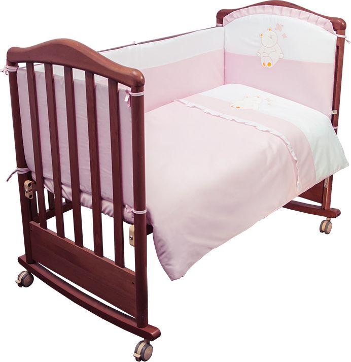Сонный гномик Комплект белья для новорожденных Пушистик цвет розовый 6 предметов610/2Детское постельное белье с бортиками для новорожденных Пушистик, сочетающее в себе натуральный и мягкий материал, который не вызовет аллергии у вашего малыша и ненавязчивый, но в то же время стильный и современный дизайн, который будет радовать вас и вашего малыша.Постельное белье Пушистик выполнено из отборного сатина (100% хлопок), украшенного милой аппликацией. Комплектация: наволочка, подушка, простынь на резинке, пододеяльник, одеяло, борт со съемным чехлом на молнии из 4 частей для кроватки 120 х 60 см. Размер наволочки: 60 х 40 см. Размер подушки: 60 х 40 см. Размер простыни: 100 х 140 см. Размер пододеяльника: 110 х 140 см. Размер одеяла: 110 х 140 см. Размер борта: 360 х 38 см. Наполнитель подушки: бамбук (плотность 20 г/м2). Наполнитель одеяла: бамбук (плотность 250 г/м2). Наполнитель борта: холлофайбер хард (плотность 400 г/м2).