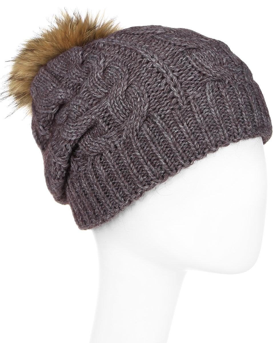 Шапка женская Paccia, цвет: коричневый. NR-21705-4. Размер 55/58NR-21705-4Вязаная женская шапка Paccia выполнена из акрила с добавлением шерсти и декорирована принтом из кос. Модель дополнена меховым помпоном. Эта шапка не только согреет в холодную погоду, но и стильно дополнит ваш образ.