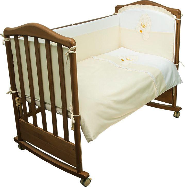 Сонный гномик Комплект белья для новорожденных Пушистик цвет светло-бежевый 6 предметов610/4Представляем Вам детское постельное белье с бортиками для новорожденных «Пушистик», сочетающий в себе натуральный и мягкий материал, который не вызовет аллергии у вашего малыша и ненавязчивый, но в то же время стильный и современный дизайн, который будет радовать Вас и Вашего малыша. Мы сделали Пушистика из отборного сатина (100% хлопок), украсили его милой аппликацией и нашли несколько идеальных цветовых решений для Вас! Комплектация: Наволочка, подушка, простынь на резинке, пододеяльник, одеяло, борт со съемным чехлом на молнии из 4 частей для кроватки 120х60Размер, см: Наволочка: 60х40, Подушка: 60х40, Простынь: 100х140, Пододеяльник: 110х140, Одеяло: 110х140, Борт, ДхВ: 360х38Наполнитель: Подушка: Бамбук (плотность 20г/кв. м), Одеяло: Бамбук (плотность 250г/кв. м), Борт: Холлофайбер Хард (плотность 400г/кв. м)