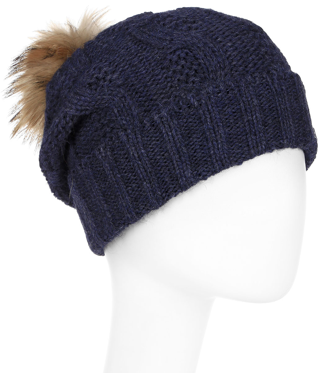Шапка женская Paccia, цвет: синий. NR-21711-6. Размер 55/58NR-21711-6Стильная женская шапка-бини Paccia выполнена из акрила с добавлением шерсти. Модель дополнена меховым помпоном. Эта шапка не только согреет в холодную погоду, но и стильно дополнит ваш образ.