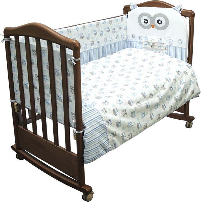 Сонный гномик Комплект белья для новорожденных Софушки цвет голубой 6 предметов671/1Постельное белье для новорожденных Софушки, выполненное из натурального хлопка плотного плетения (120 г/м2), отлично сохраняет тепло и поддерживает комфортную температуру для малыша, при этом не вызывая аллергии. Благодаря высокому качеству материала, обладает отличной износостойкостью, комплекты выдерживают частые стирки и прослужат вам не один год, при этом сохраняя прекрасный внешний вид, яркий рисунок и основные свойства. Комплектация: наволочка, подушка, простынь, пододеяльник, одеяло, борт со съемным чехлом на молнии из 4 частей для кроватки 120 х 60 см. Размер наволочки: 60 х 40 см. Размер подушки: 60 х 40 см. Размер простыни: 100 х 140 см. Размер пододеяльника: 110 х 140 см. Размер одеяла: 110 х 140 см. Размер борта: 360 х 44 см. Наполнитель подушки: холлофайбер (плотность 200 г/м2). Наполнитель одеяла: холлофайбер (плотность 200 г/м2). Наполнитель борта: холлофайбер хард (плотность 400 г/м2).