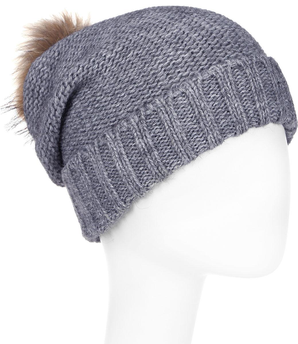 Шапка женская Paccia, цвет: серый. NR-21712-1. Размер 55/58NR-21712-1Стильная женская шапка-бини Paccia выполнена из акрила с добавлением шерсти. Модель дополнена отворотом и меховым помпоном. Эта шапка не только согреет в прохладную погоду, но и стильно дополнит ваш образ.