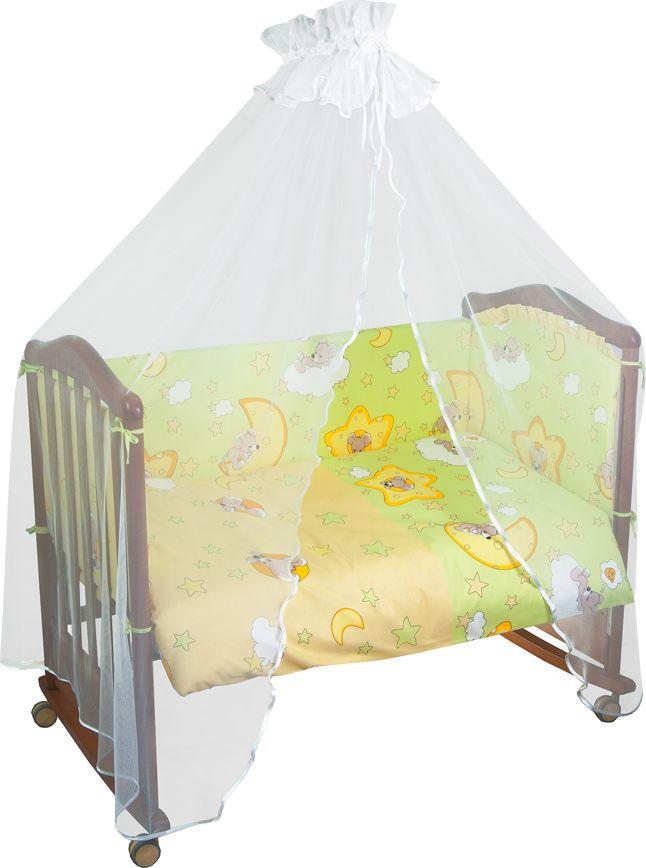 Сонный гномик Комплект белья для новорожденных Сыроежкины сны цвет светло-зеленый 6 предметов641/3Постельное белье для новорожденных Сыроежкины сны, выполненное из натурального хлопка плотного плетения (120 г/м2), отлично сохраняет тепло и поддерживает комфортную температуру для малыша, при этом не вызывая аллергии. Благодаря высокому качеству материала, обладает отличной износостойкостью, комплекты выдерживают частые стирки и прослужат вам не один год, при этом сохраняя прекрасный внешний вид, яркий рисунок и основные свойства.Комплектация: наволочка, подушка, простынь, пододеяльник, одеяло, борт со съемным чехлом на молнии из 4 частей для кроватки 120 х 60 см.Размер наволочки: 60 х 40 см. Размер подушки: 60 х 40 см. Размер простыни: 100 х 140 см. Размер пододеяльника: 110 х 140 см. Размер одеяла: 110 х 140 см. Размер борта: 360 х 44 см.Наполнитель подушки: холлофайбер (плотность 200 г/м2). Наполнитель одеяла: холлофайбер (плотность 200 г/м2). Наполнитель борта: холлофайбер хард (плотность 400 г/м2).