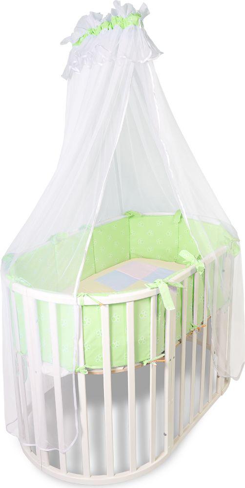 Сонный гномик Комплект в круглую кроватку Африка цвет светло-зеленый 2 предмета231-12/3Комплектация: Бортик из 12 подушек со съемными чехлами, балдахин. Размер, см: Бортик из 12 подушек: 30х30, балдахин 400. Материал верха: Бязь (100% Хлопок), Балдахин: Сетка (100% ПЭ)Наполнитель: Холлофайбер Хард (плотность 400г/кв. м)