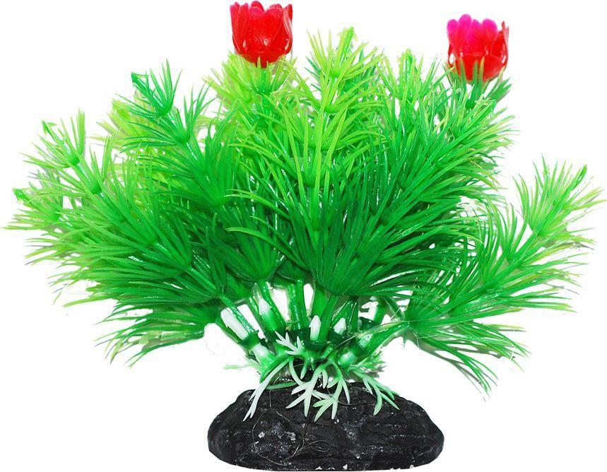 Растение для аквариума Уют Маяка зеленая с красными цветами, высота 11 см уют