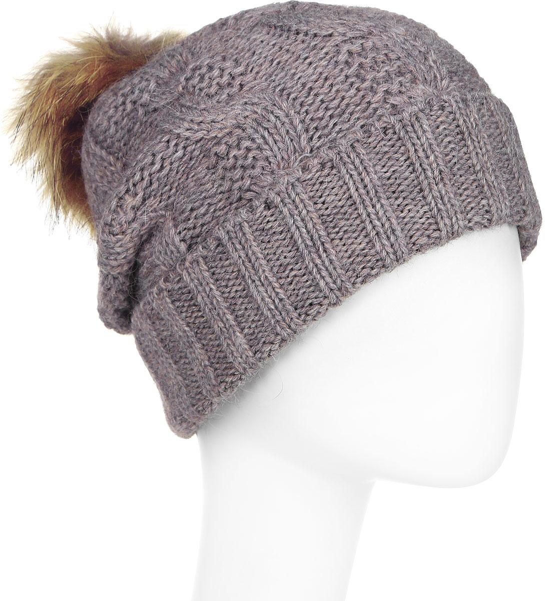 Шапка женская Paccia, цвет: бежевый. NR-21711-7. Размер 55/58NR-21711-7Стильная женская шапка-бини Paccia выполнена из акрила с добавлением шерсти. Модель дополнена меховым помпоном. Эта шапка не только согреет в холодную погоду, но и стильно дополнит ваш образ.