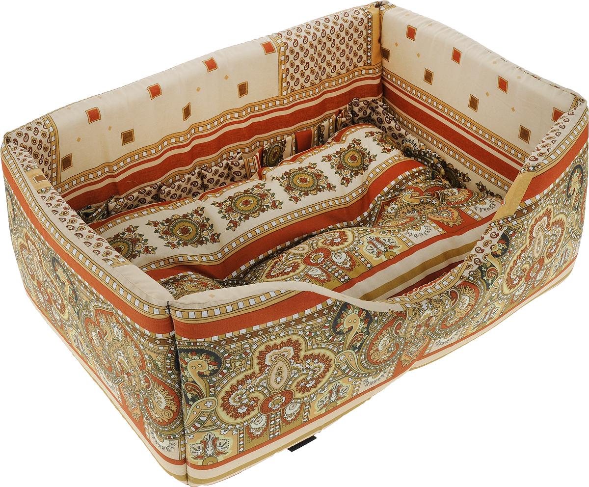 Лежак для собак и кошек Гамма, цвет: кирпичный, бежевый, 52 х 36 х 21,5 см подставка с мисками для кошек собак гамма 1