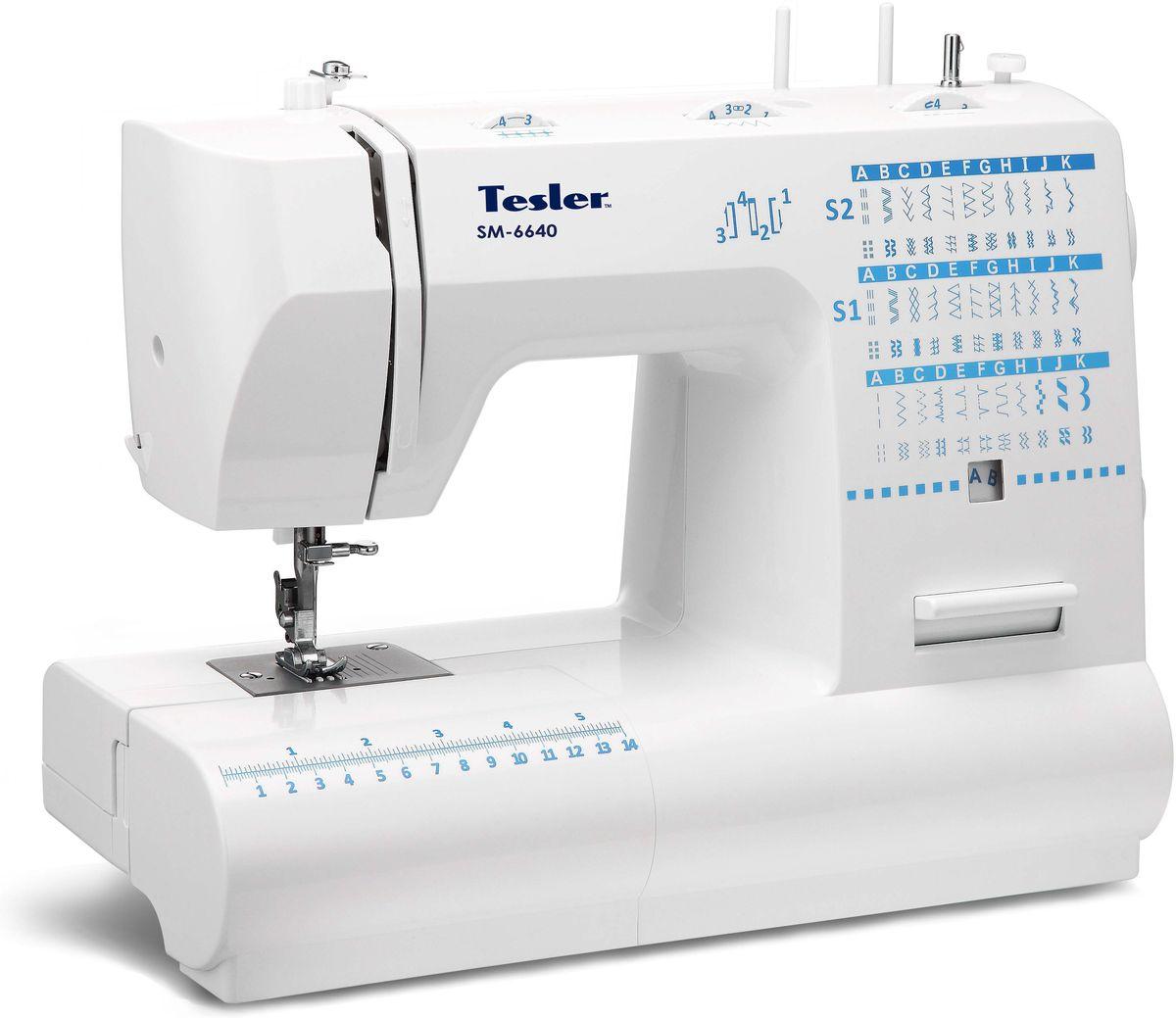 Tesler SM-6640, White швейная машинкаSM-6640Универсальная швейная машинка, которая поможет вам усовершенствовать и/или отремонтировать уже имеющуюся одежду. Или поможет воплотить в жизнь все самые смелые дизайнерские идеи. С помощью функции декоративной строчки вы также сможете украсить только что сшитую одежду при помощи элегантного узора. Тип: электромеханическая. Количество швейных операций: 66. Количество строчек: 66. Количество петель: 1. Стежки для квилтинга. Тип челнока: качающийся вертикальный. Подсветка. Место для хранения принадлежностей. Контроль позиционирования иглы. Регулировка натяжения нити. Регулировка длины стежка. Регулировка скорости. Регулировка уровня прижимной лапки. Реверс. Шитье двойной иглой. Обрезка нити. Функция свободный рукав. Особенности: Быстрая замена лапок. Яркая светодиодная подсветка. Складная ручка для удобной переноски. Направляющие линии на игольной пластине для прямых и ровных строчек. 4-шаговая петля. Линейка на корпусе. Максимальная скорость шитья 750 ст/мин. Мощность 70 Вт. Комплектация: Лапка для петли. Направитель для квилтинга. Вспарыватель. Шпули. Набор игл. Двойная игла. Штопальная пластина. Инструкция на русском языке. Чехол.