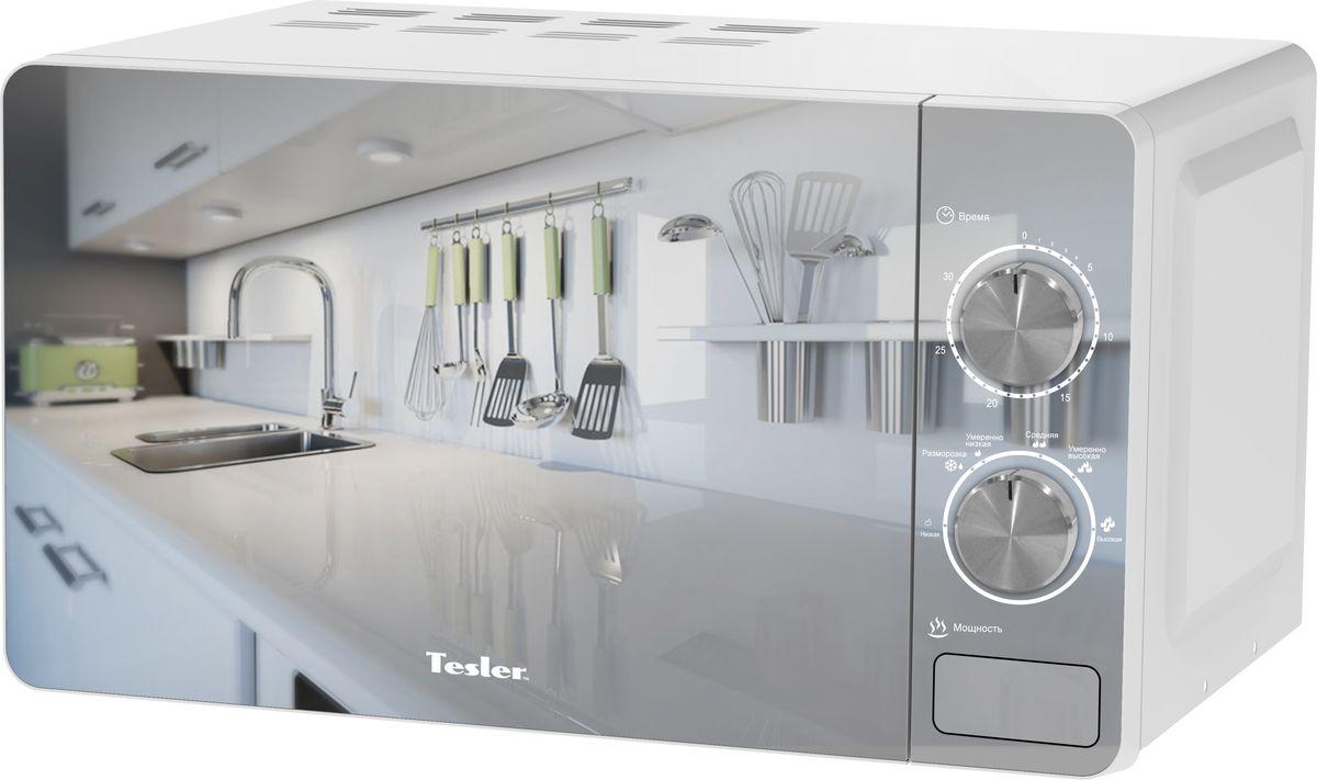 Tesler MM-2002, White микроволновая печьMM-2002Дизайнерская микроволновая печь надежна и проста в управлении. Механическое управление с возможностью выбора необходимого уровня мощности и времени приготовления. Зеркальная дверца впишется в любую кухню.