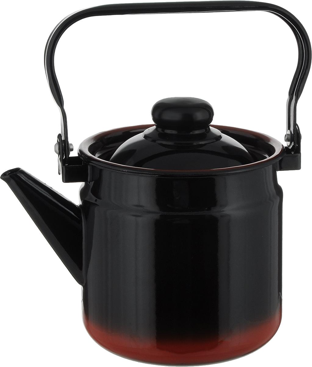 Чайник СтальЭмаль, цвет: черный, красный, 2 л. 1с25/я1с25/яЧайник СтальЭмаль выполнен из высококачественного стального проката, покрытого двумя слоями жаропрочной эмали. Такое покрытие защищает сталь от коррозии, придает посуде гладкую стекловидную поверхность и надежно защищает от кислот и щелочей. Чайник оснащен подвижной стальной ручкой и крышкой. Эстетичный и функциональный чайник будет оригинально смотреться в любом интерьере. Подходит для газовых, электрических, стеклокерамических, индукционных плит. Можно мыть в посудомоечной машине. Диаметр (по верхнему краю): 15 см.Высота чайника (без учета ручки и крышки): 17 см.
