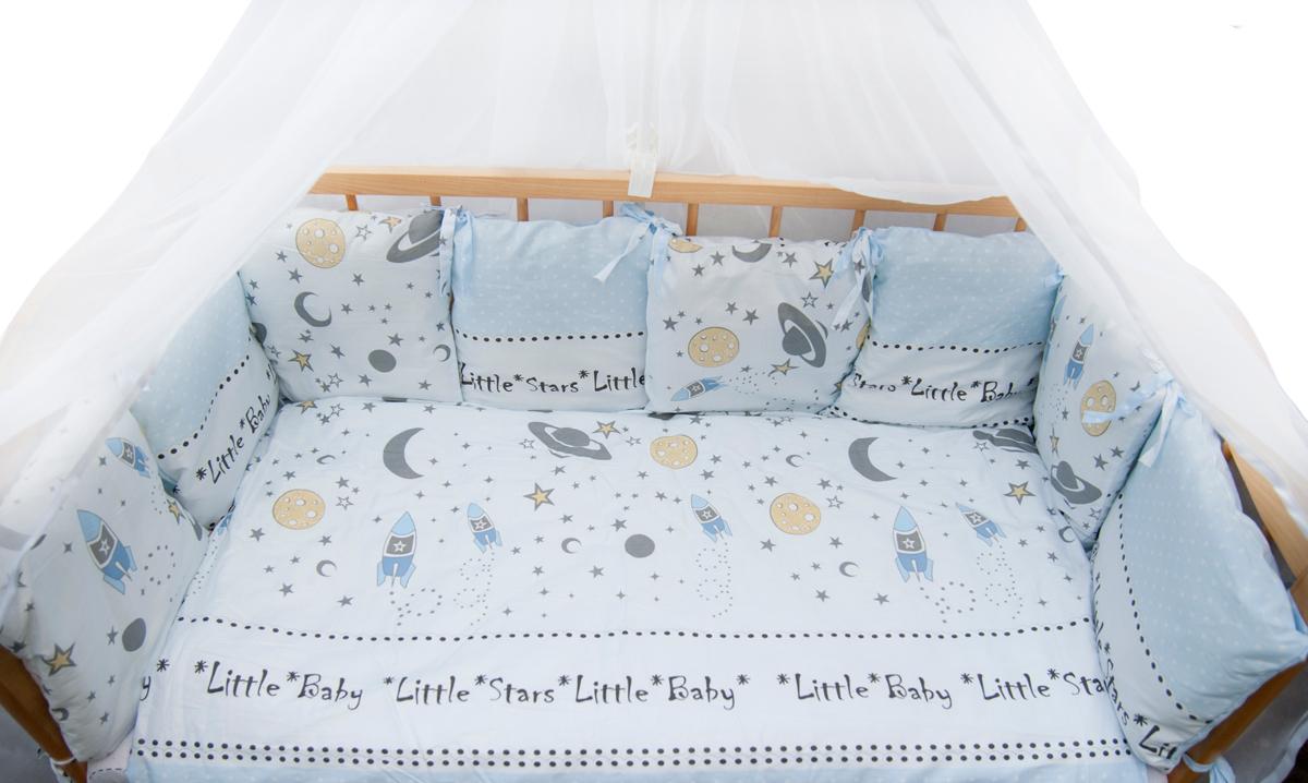 Amarobaby Комплект белья для новорожденных Little Star цвет голубой 18 предметов