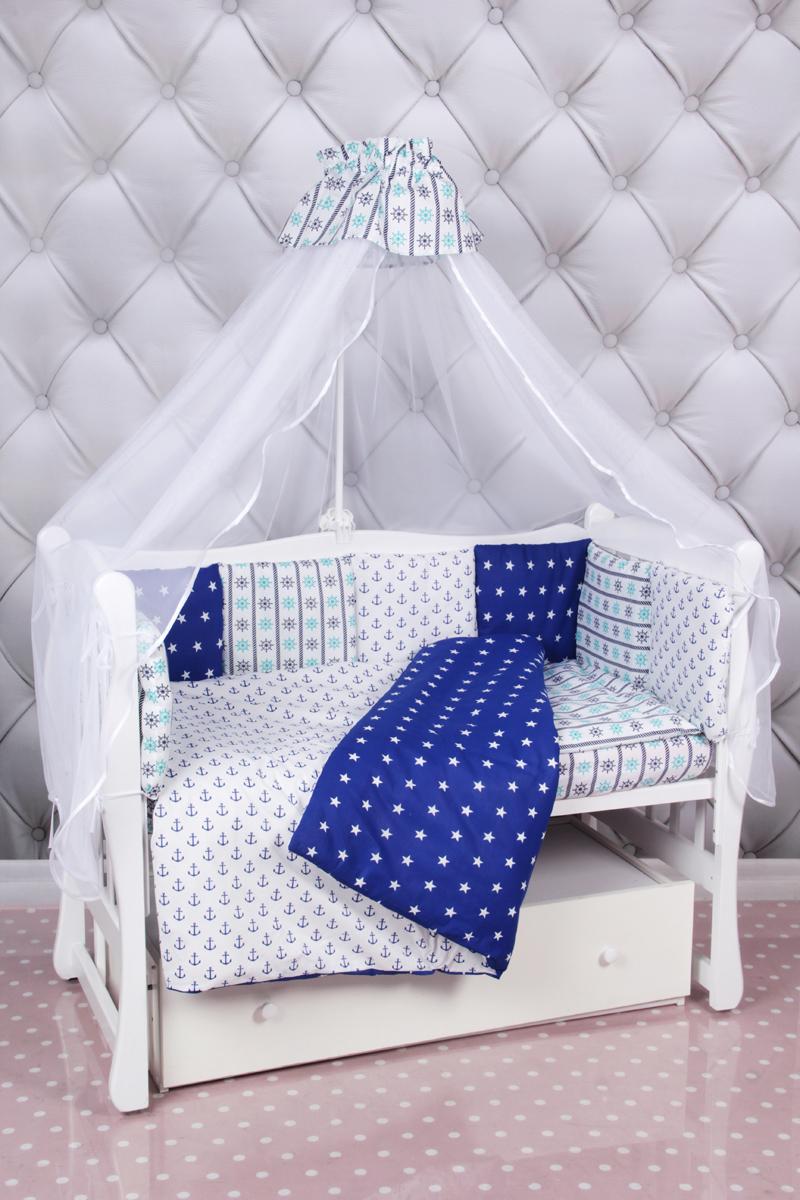 Amarobaby Комплект белья для новорожденных Бриз цвет синий белый 18 предметовБРИЗ (синий-белый)Комплекты детского постельного белья AmaroBaby выполнены из натурального и гипоаллергенного материала, мягкого и приятного на ощупь. Постельное белье не требует особого ухода, долго сохраняет первоначальный внешний вид. Швы выполнены особым образом, что помогает избежать дискомфорта малыша.100 % хлопок (бязь). Борта представлены в виде 12 подушек Простынь на резинке Подушки-бортики на завязках Отличное качествоКомплектация:1. простынь на резинке 120 х 60 см2. подушка 38 х 58 см3. наволочка 40 х 60 см4. одеяло 107 х 137 см5. пододеяльник на молнии 147 х 112 см6. бампер: подушки 30 х 30см - 12шт 7. балдахин 150 х 300 смткань: бязь (100% хлопок) наполнитель: файберпласт