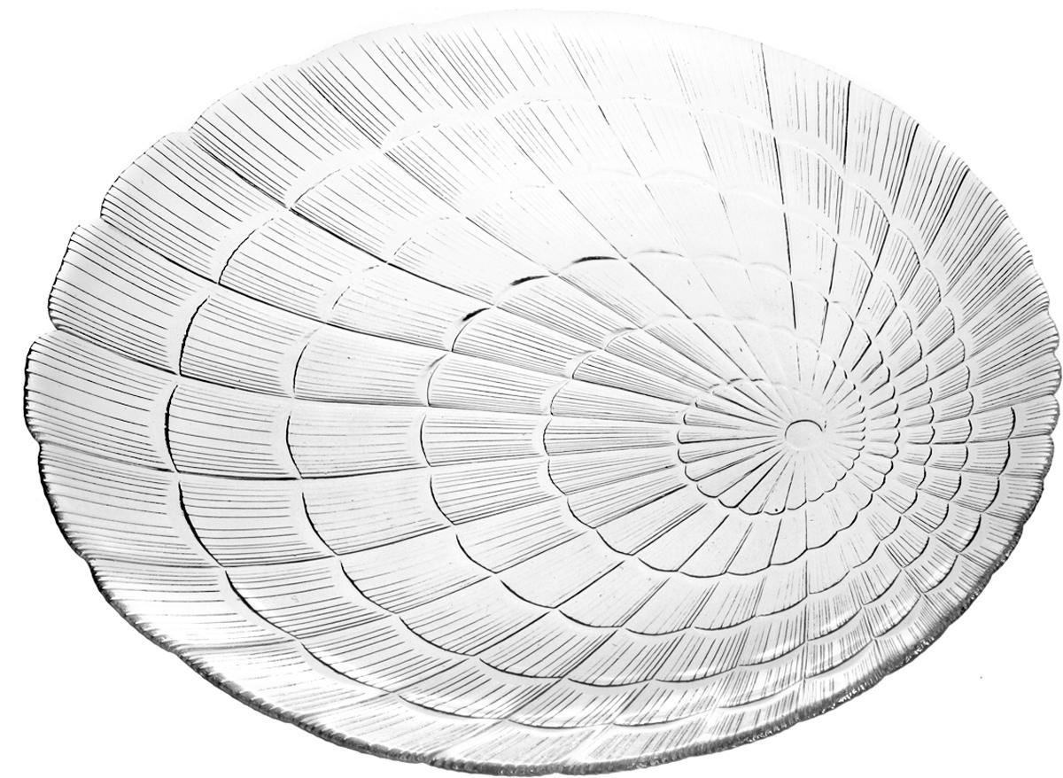 Тарелка из закаленного стекла ATLANTIS 230*320 мм (прозрачное рифленое стекло овальной формы)