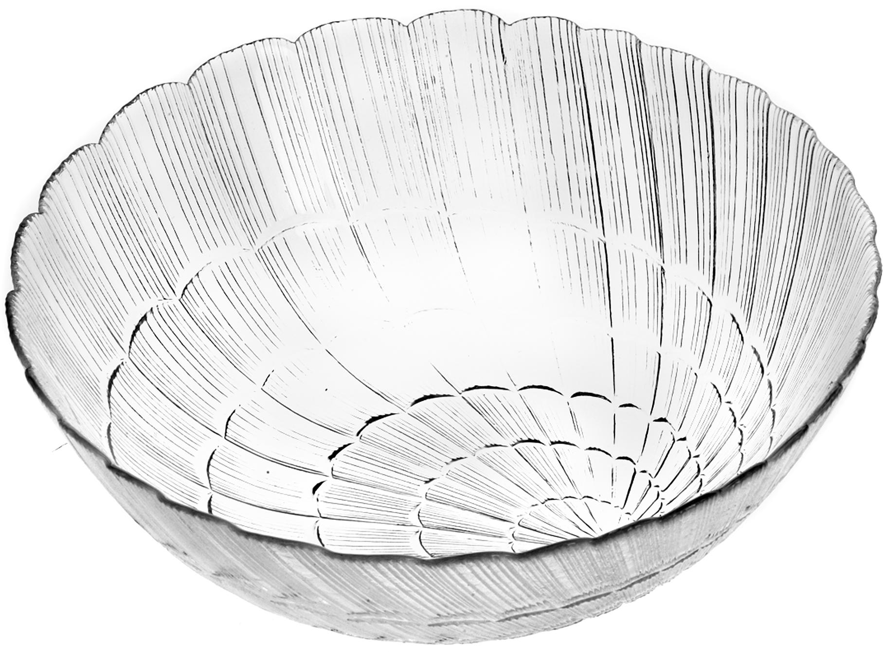 """Салатник Pasabahce """"Атлантис"""" изготовлен из прочного закаленного  силикатного стекла. Стенки украшены изящным рельефом. Салатник прекрасно подходит для подачи салатов, закусок и других блюд, например, мяса.  Салатник красиво оформит праздничный стол и удивит вас стильным дизайном. Можно мыть в посудомоечной машине и использовать в микроволновой печи."""