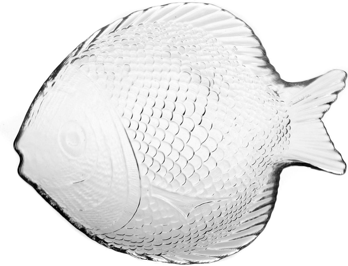 Тарелка Pasabahce Марин, цвет: прозрачный, 19,8 х 15,8 см10256SLBТарелка из закаленного стекла MARINE 196*160 мм (прозрачное рифленое стекло в форме рыбы)