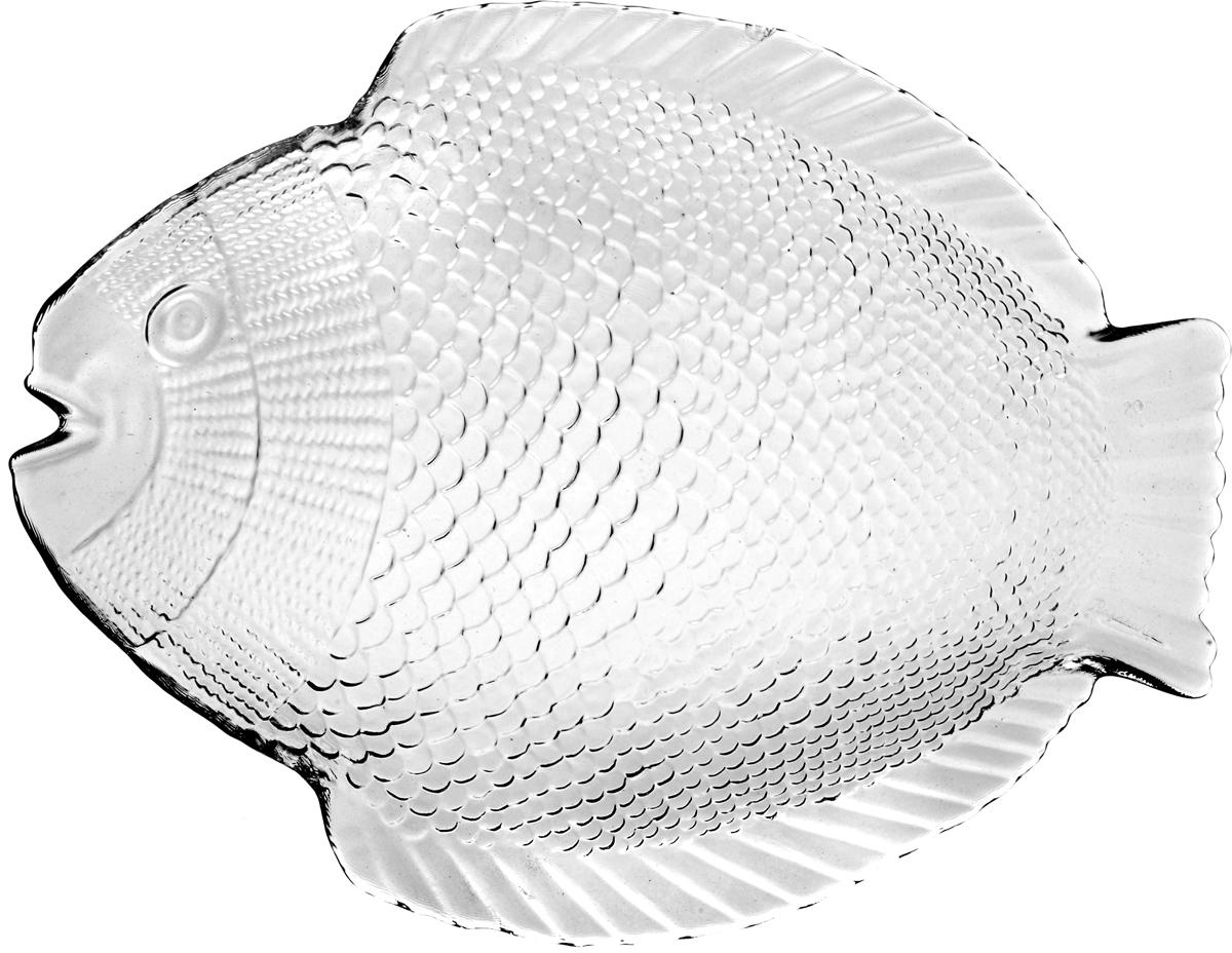 Тарелка из закаленного стекла MARINE 210*260 мм (прозрачное рифленое стекло в форме рыбы)