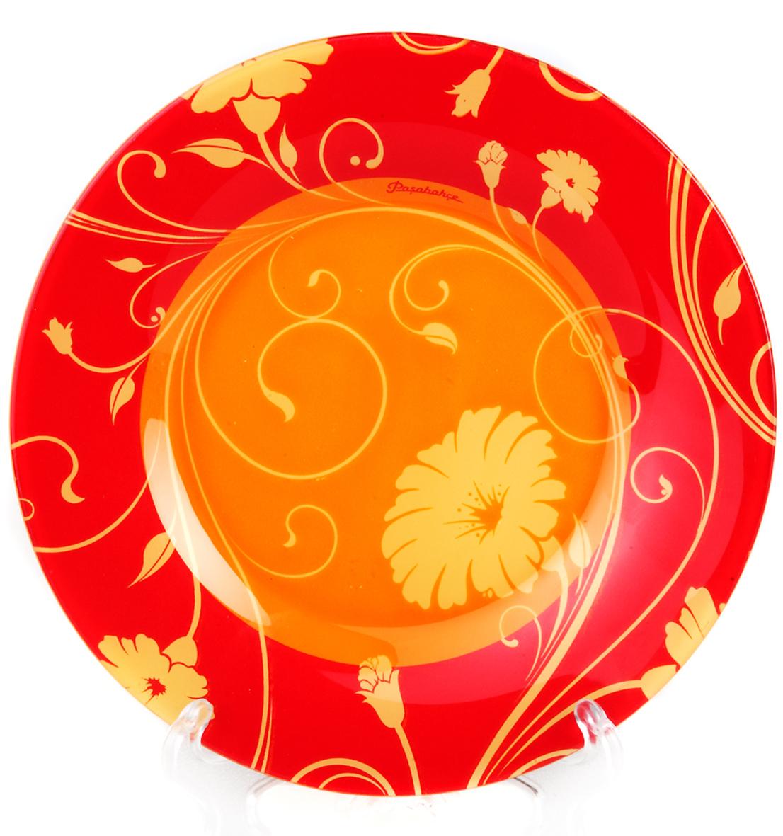 Тарелка Pasabahce Уоркшоп оранж серенейд, цвет: оранжевый, диаметр 19,5 см10327SLBD1Тарелка из закаленного стекла SERENADE d=200 мм (на оранжевом фоне желтые цветы)
