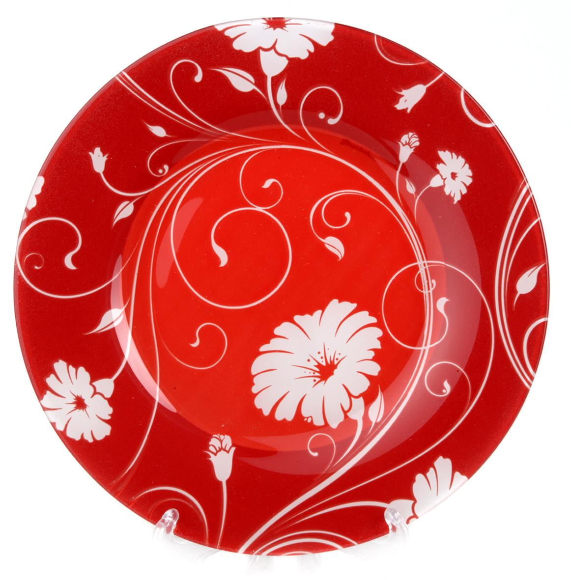 Тарелка из закаленного стекла SERENADE (на красном фоне белые цветы) d=195 мм