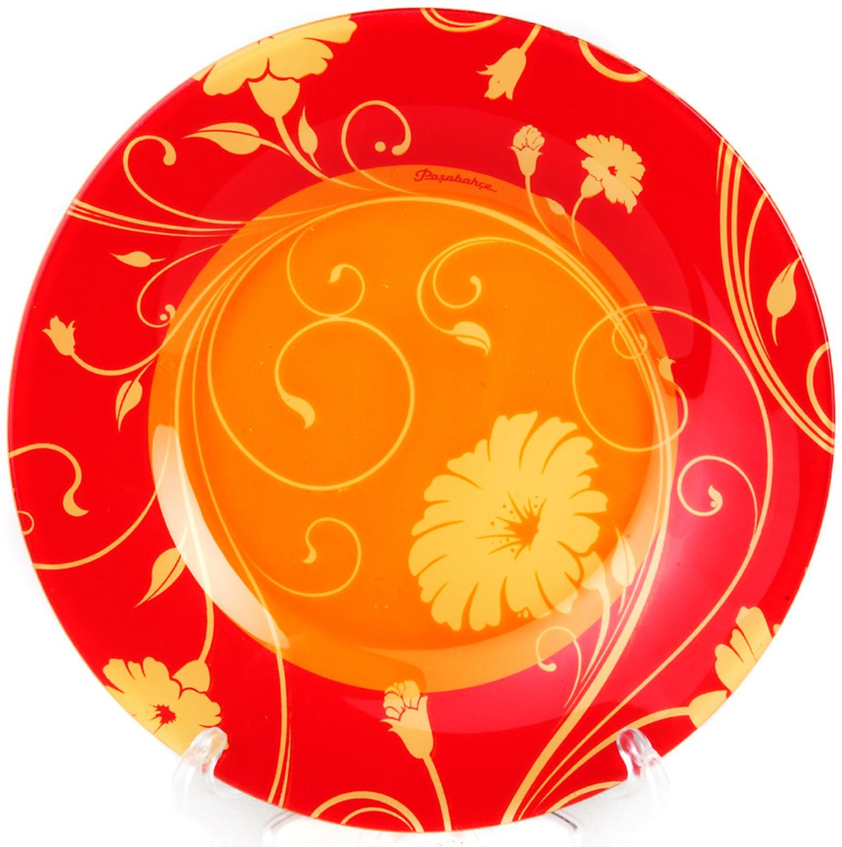 Тарелка Pasabahce Оранж серенейд, цвет: оранжевый, диаметр 26 см10328SLBD1Тарелка из закаленного стекла SERENADE d=260 мм (на оранжевом фоне желтые цветы)