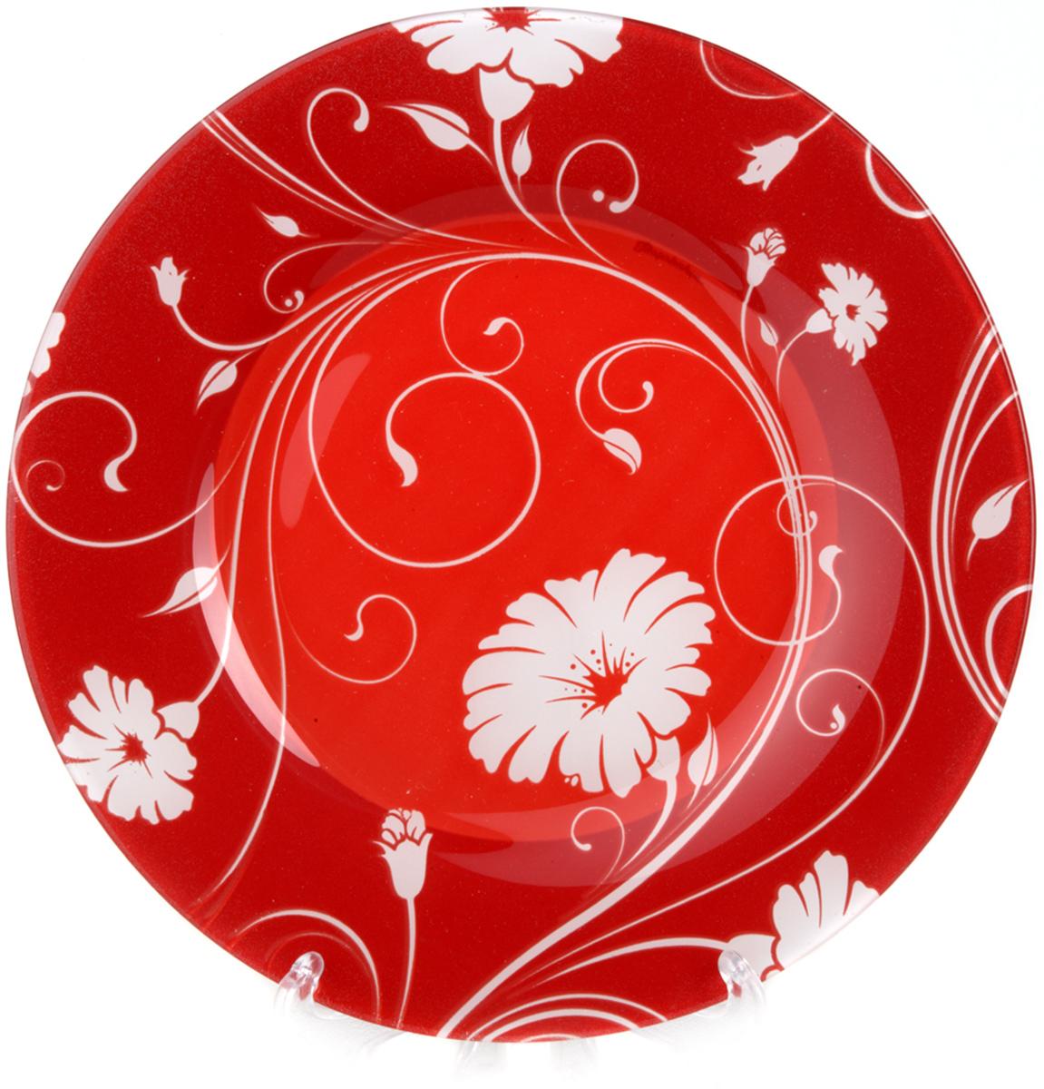 Тарелка из закаленного стекла SERENADE d=260 мм (на красном фоне белые цветы)