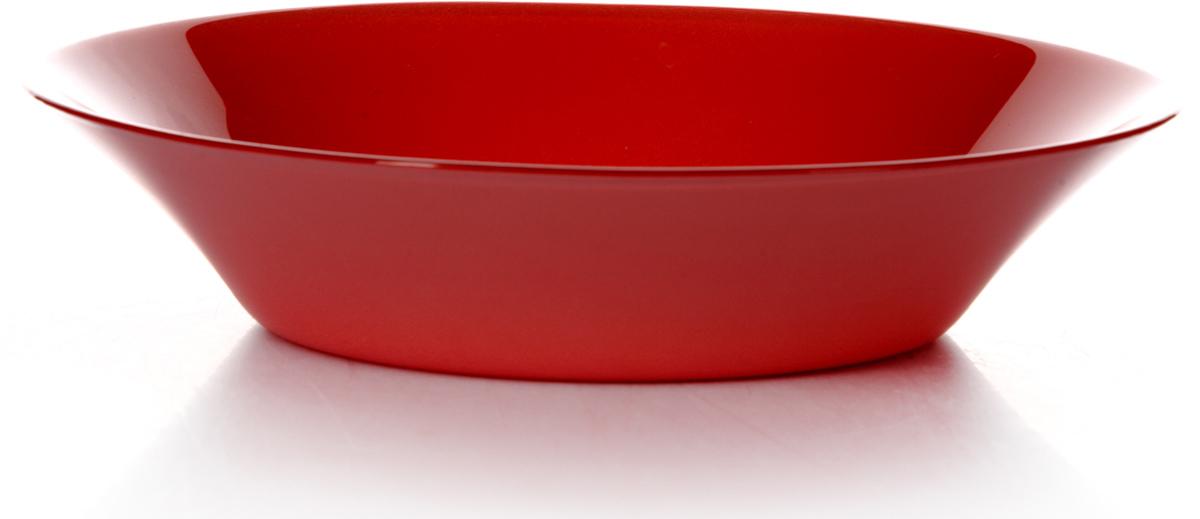 Тарелка глубокая Pasabahce Рэд виллаж, цвет: красный, диаметр 22 см10335SLBD20Тарелка Pasabahce изготовлена из упрочненного закаленного натрий-кальций- силикатного стекла с повышенной термостойкостью.
