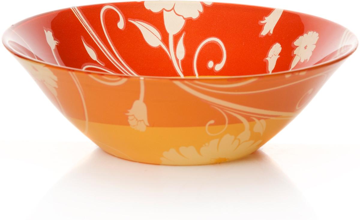 Салатник Pasabahce Оранж серенейд, цвет: оранжевый, диаметр 14 см10414SLBD1Салатник красно-оранжевого цвета с рис. Цветы d=140 мм