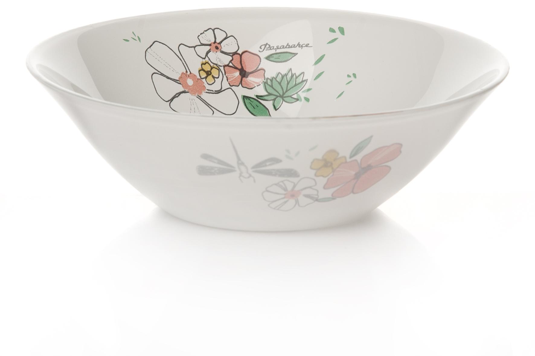 """Салатник Pasabahce """"Нейчер"""" изготовлен из закаленного стекла и оформлен изображением цветов и стрекоз. Такой салатник украсит сервировку вашего стола и подчеркнет прекрасный вкус хозяина, а также станет отличным подарком.Можно мыть в посудомоечной машине и использовать в микроволновой печи."""