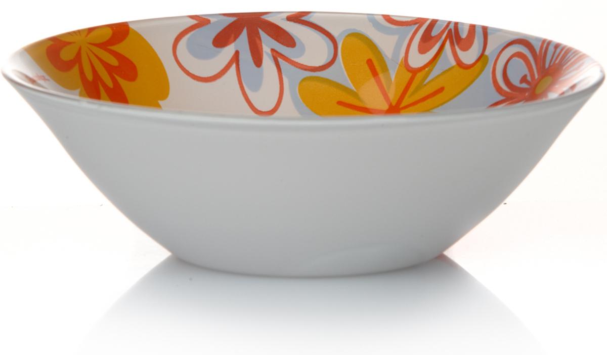 """Салатник Pasabahce """"Саммер"""", выполненный из высококачественного натрий-кальций-силикатного стекла, предназначен для красивой сервировки различных блюд. Изделие украшено изображением цветов. Салатник сочетает в себе изысканный дизайн с максимальной функциональностью.  Оригинальность оформления придется по вкусу и ценителям классики, и тем, кто предпочитает утонченность и изящность.  Можно использовать в холодильной камере и мыть в посудомоечной машине. Нельзя использовать в микроволновой печи."""
