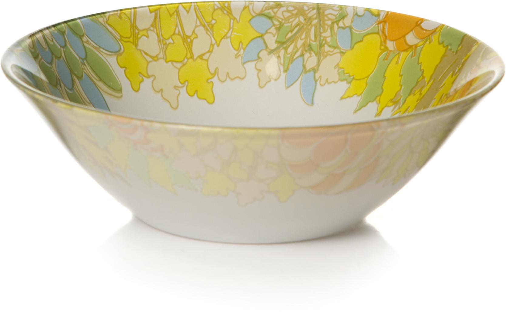 Салатник Pasabahce Семья. Домашний, цвет: белый, диаметр 14 см10414SLBD7Салатник из упроч.стекла d=140 мм (по краю рис.желтого цвета)