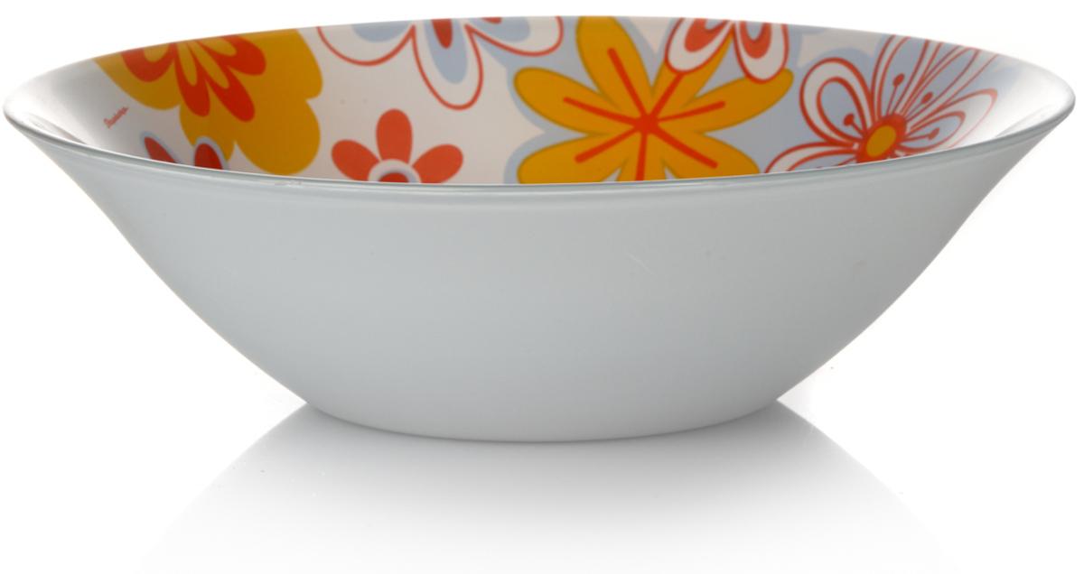 Салатник Pasabahce Саммер, цвет: белый, оранжевый, диаметр 23 см10415SLBD5Салатник Pasabahce Саммер, выполненный из высококачественного натрий-кальций-силикатного стекла, предназначен для красивой сервировки различных блюд. Изделие украшено изображением цветов. Салатник сочетает в себе изысканный дизайн с максимальной функциональностью. Оригинальность оформления придется по вкусу и ценителям классики, и тем, кто предпочитает утонченность и изящность.Можно использовать в холодильной камере и мыть в посудомоечной машине. Нельзя использовать в микроволновой печи.