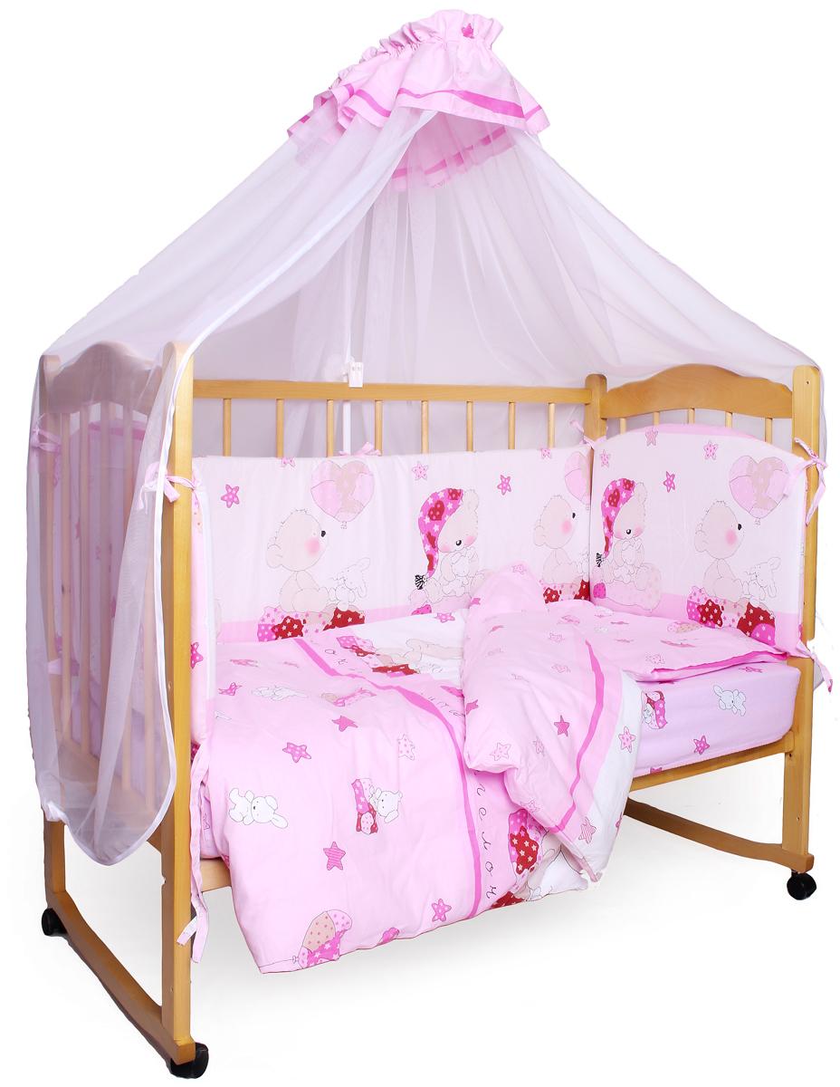 Amarobaby Комплект белья для новорожденных Мишкин сон цвет розовый 7 предметовМИШКИН СОН (розовый)Комплекты детского постельного белья AmaroBaby выполнены из натурального и гипоаллергенного материала, мягкого и приятного на ощупь. Постельное белье не требует особого ухода, долго сохраняет первоначальный внешний вид. Швы выполнены особым образом, что помогает избежать дискомфорта малыша.100 % хлопок (поплин)Борта из 4-х частей со съемными чехлами на молнии Простынь на резинкеБортик на завязкахОтличное качествоКомплектация: 1. простынь на резинке 120 х 60 см 2. подушка 38 х 58 см 3. наволочка 40 х 60 см 4. одеяло 107 х 137 см 5. пододеяльник на молнии 147 х 112 см 6. бампер из 4-х частей 38 х 360см7. балдахин 150 х 240 см ткань: поплин (100% хлопок)наполнитель: файберпласт